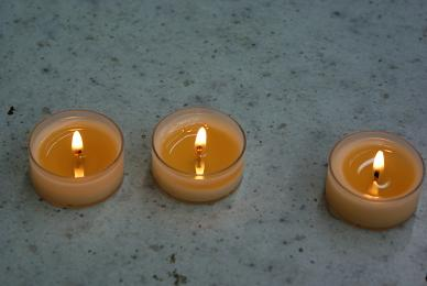 Beeswax-Damar tea lite candles